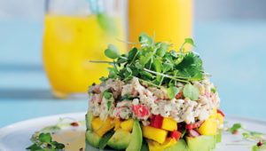 Crab, avocado and mango stack