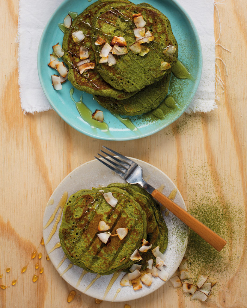 Matcha pancakes with whipped coconut cream