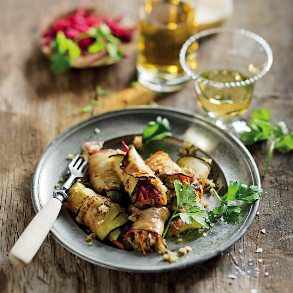 Quinoa and tahini brinjal rolls