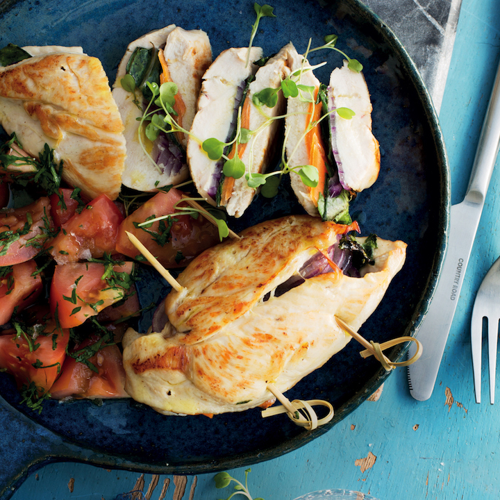 Rainbow-stuffed chicken breasts