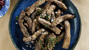 Whisky marinated beef strips