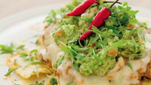 Chicken mole nachos