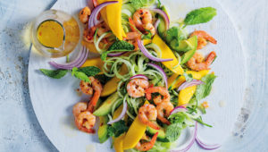 Cucumber noodle, prawn and mango salad