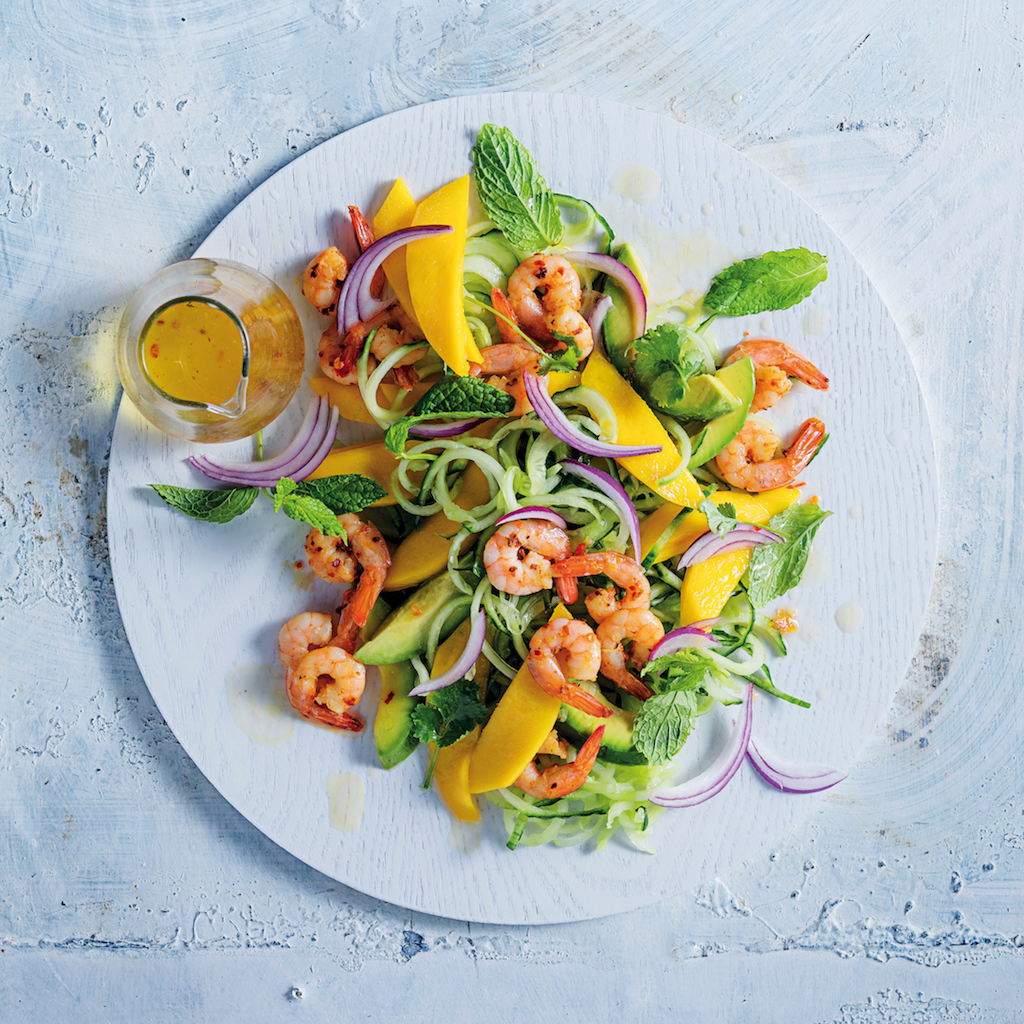 Cucumber noodle, prawn and mango salad
