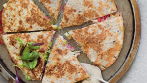 Leek and strawberry quesadillas
