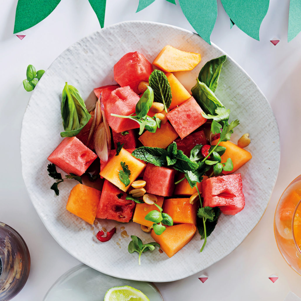 Lime and coriander melon salad