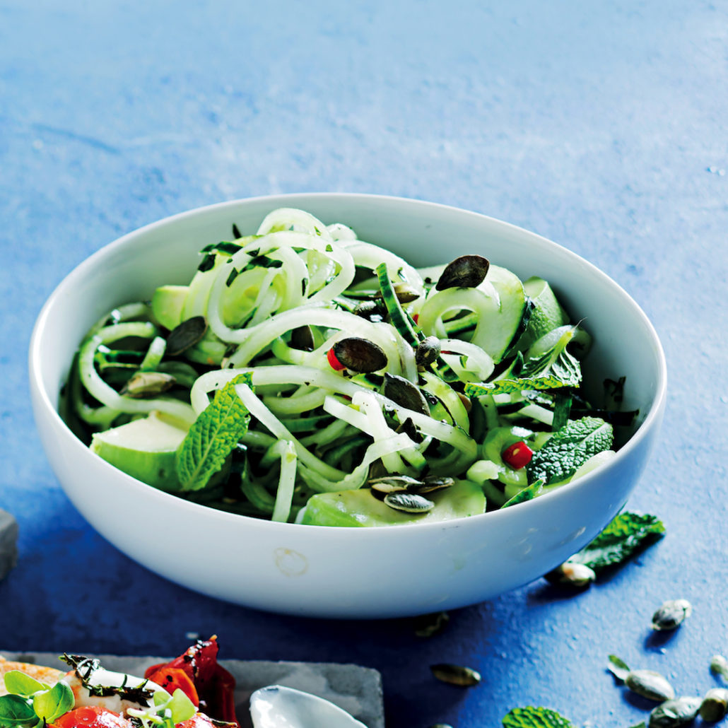 Raw chilli cucumber noodles