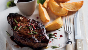 Red wine marinated steak with wine jus