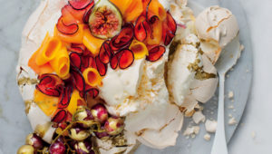 Salted golden pavlova