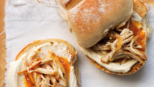 Cream cheese, chicken and chutney rolls