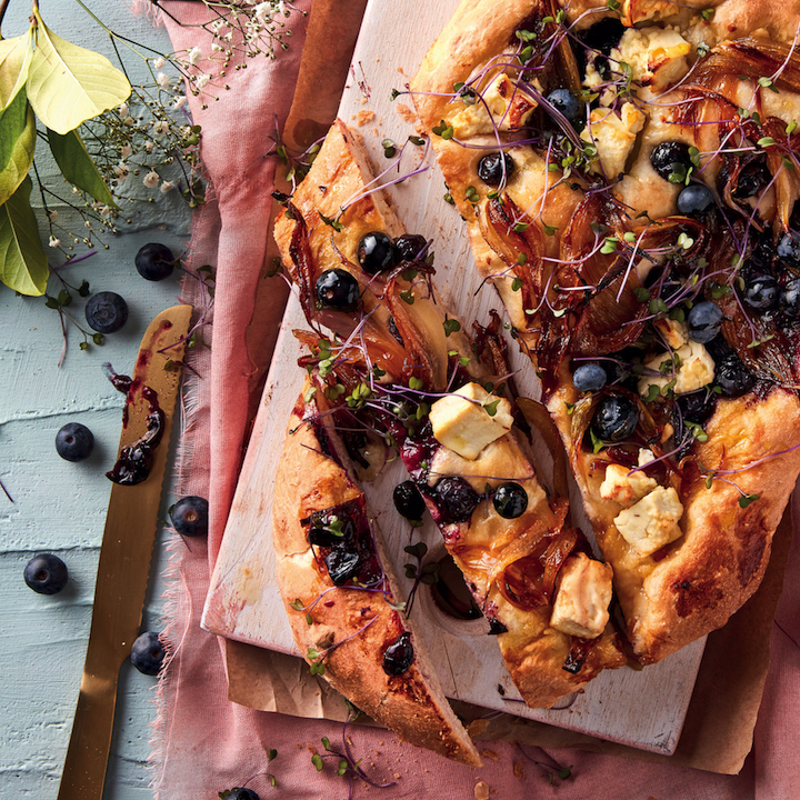Feta, caramelised onion and blueberry focaccia