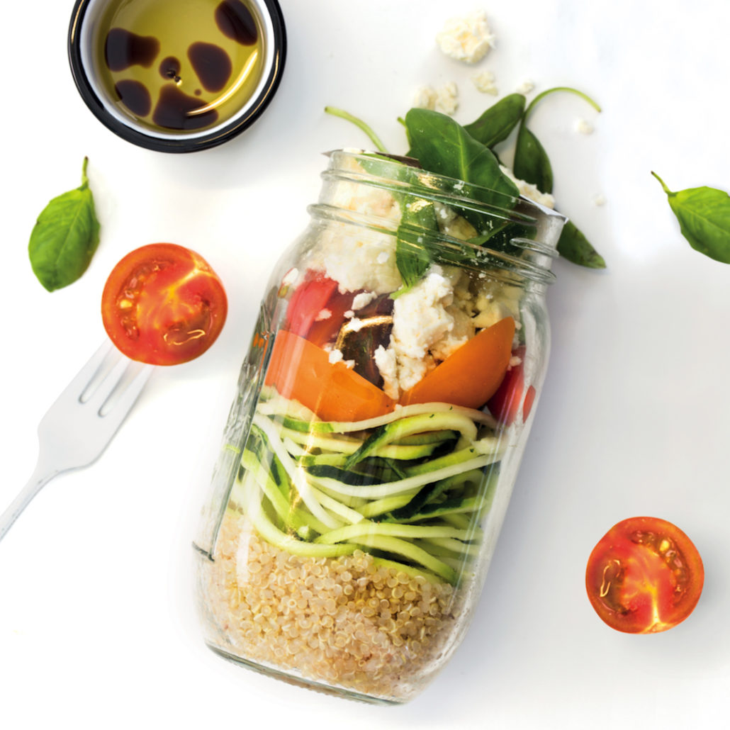 Zoodle and quinoa caprese salad jar