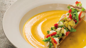 Pumpkin soup with smoked snoek and Peppadew crostini