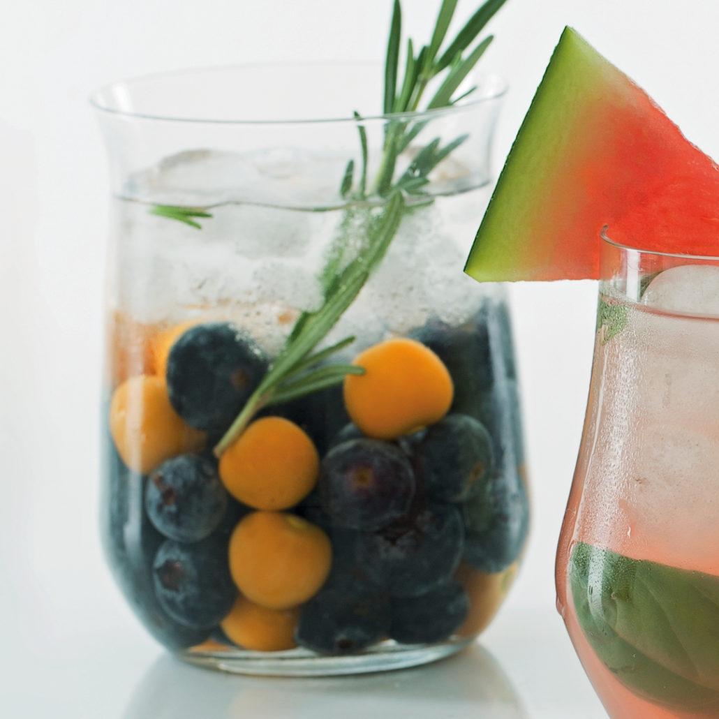 Rosemary and berry margaritas