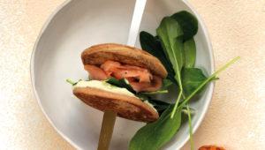Salmon pancake burgers with baobab mayo
