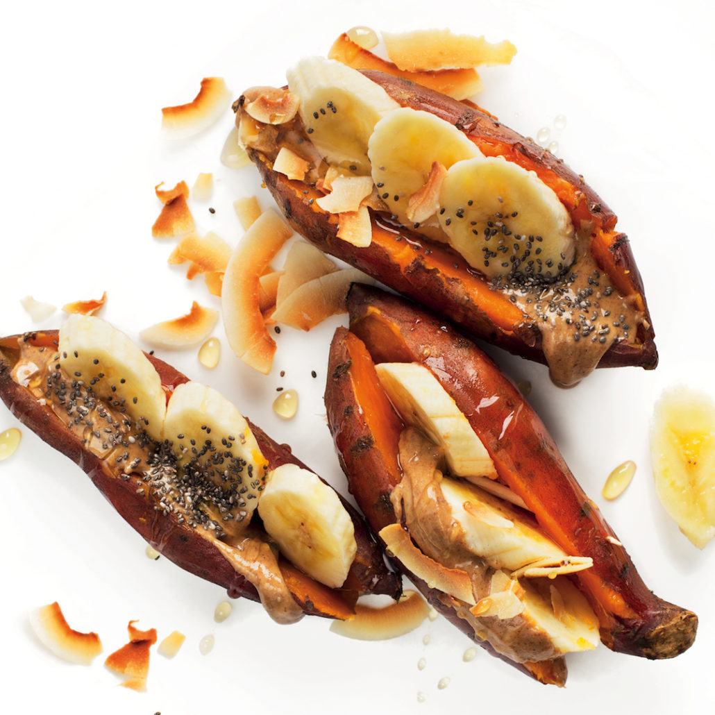 Banana and almond sweet potatoes