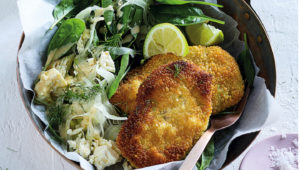 Couscous-crusted chicken schnitzels
