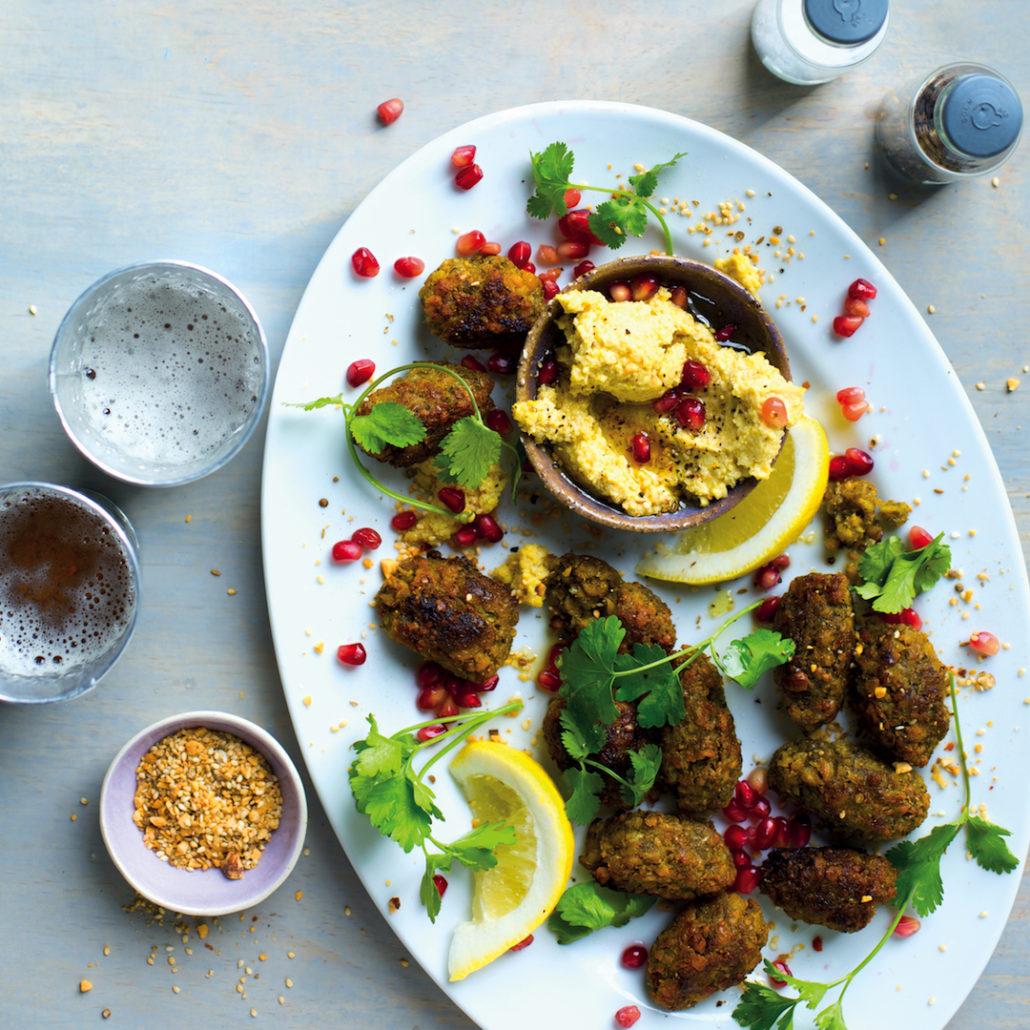 Falafel with hummus and dukkah