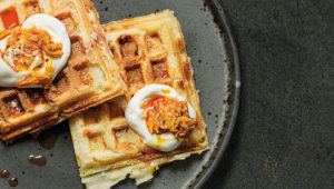 Pap waffles with mango atchar