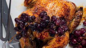 Perfect roast chicken with roast red grapes