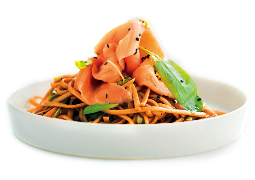 Smoked salmon noodle salad with balsamic dressing