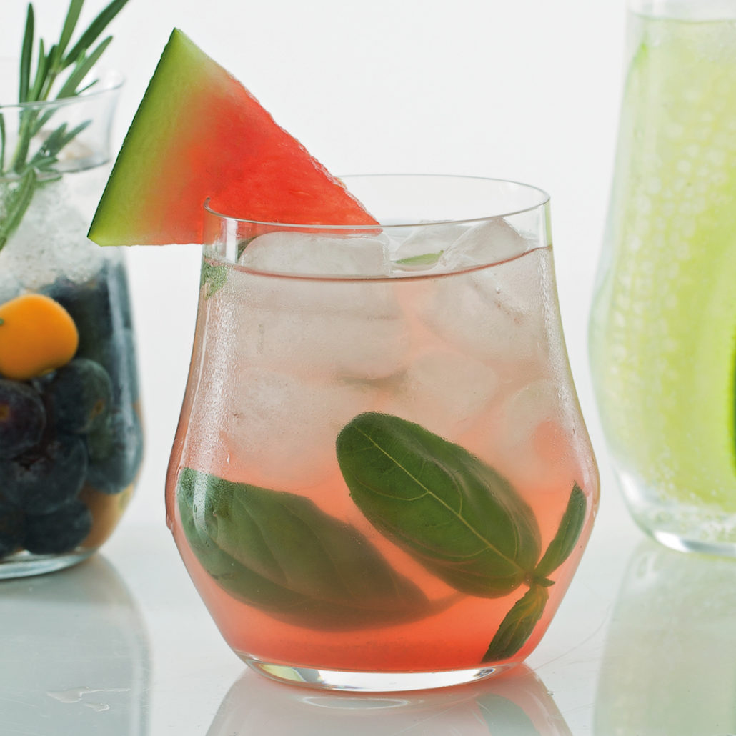 Watermelon, basil and vodka cocktail
