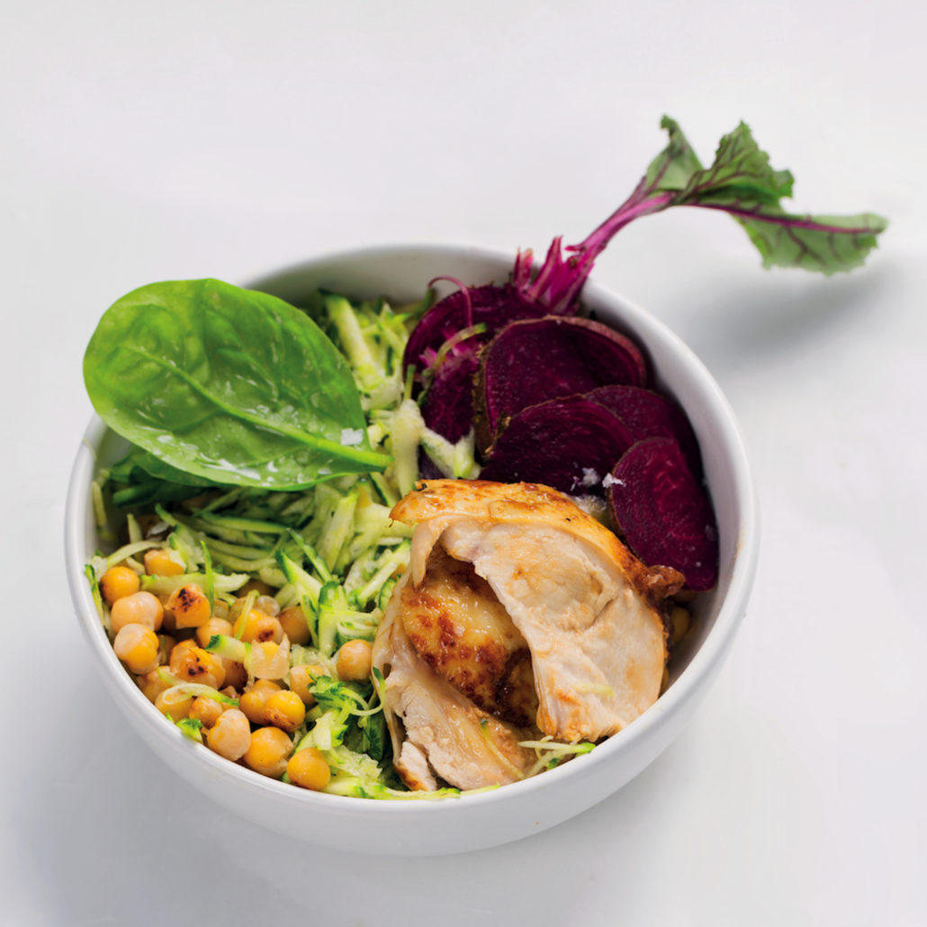 Chicken and beetroot bowls
