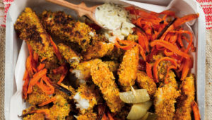 Cornflake-crusted fish fingers with carrot fries