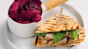 Crispy chicken flatbreads with beetroot hummus