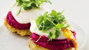 Poached eggs, potato fritters and beetroot-bean pate