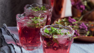 Rose, basil and cranberry cocktails
