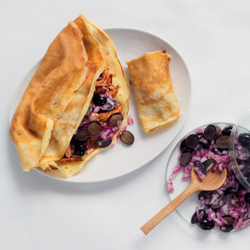 Savoury crepes with pulled chicken and grape salsa