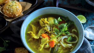 Tumeric, ginger and chicken soup