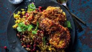 Turmeric-crusted pork chops