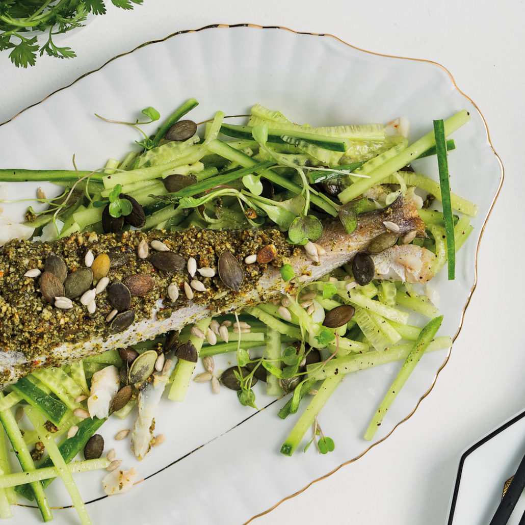 Seeded hake with cucumber salad