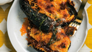 Bolognese-stuffed brinjals