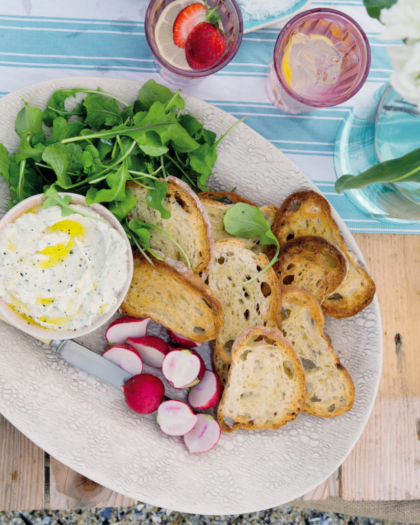 Caramelised onion and feta spread with melba toast