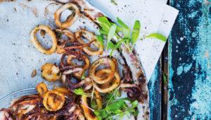 Crispy calamari with savoury granadilla yoghurt