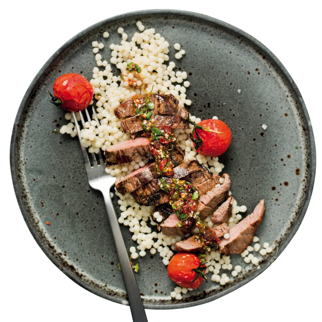 Ostrich steak salad with pearl couscous