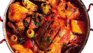 Spanish chicken and chorizo potjie
