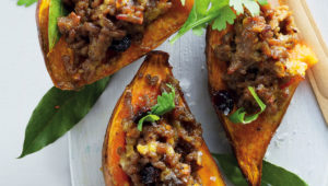 Sweet potatoes stuffed with bobotie