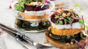 Beetroot and butternut stacks