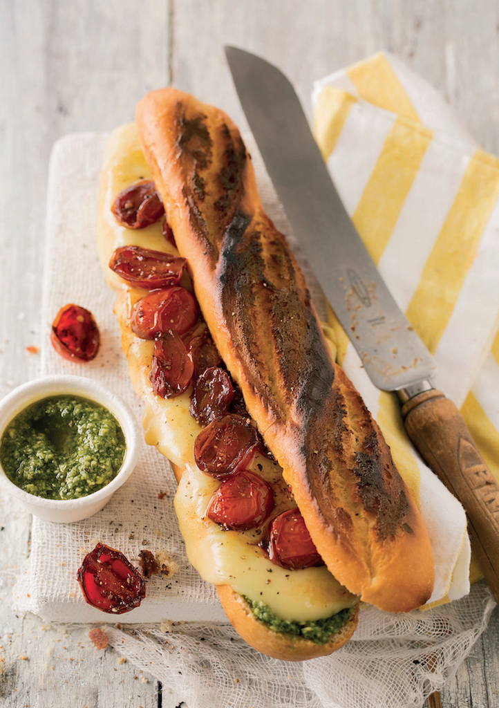 Roast cherry tomato, pesto and mozzarella braaibroodjies