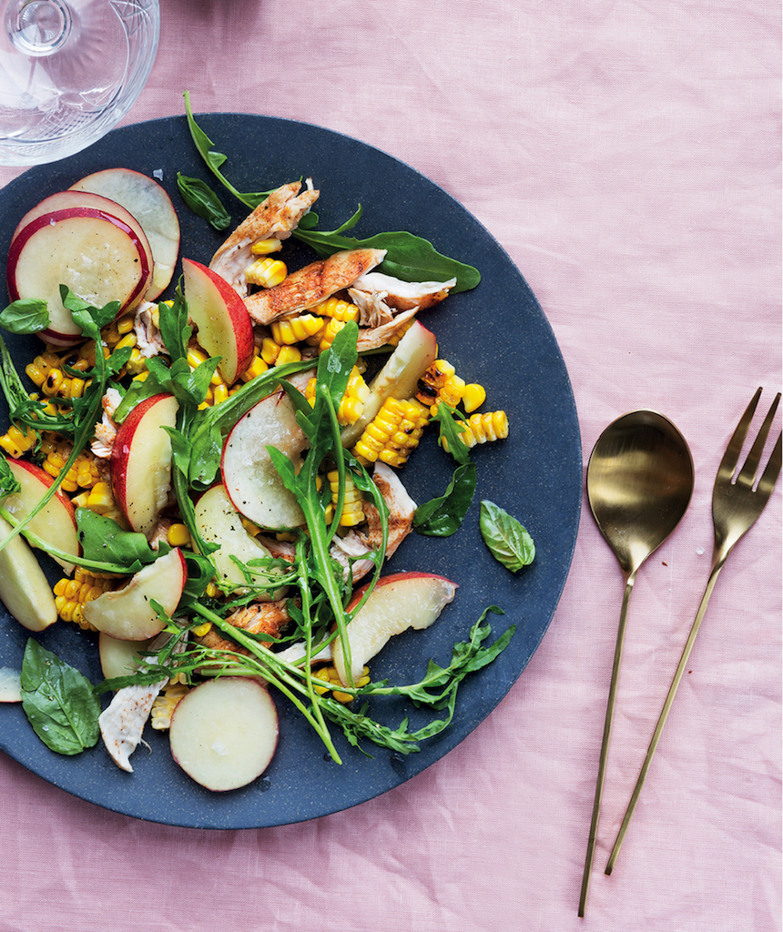 Grilled corn, chicken and nectarine salad