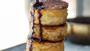 The fluffiest Cheddar crumpets ever, with baked blueberry jam