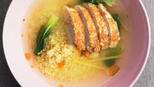 Chicken with bulgar wheat and lemongrass ginger broth