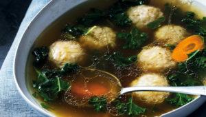 Garden vegetable soup and dumplings
