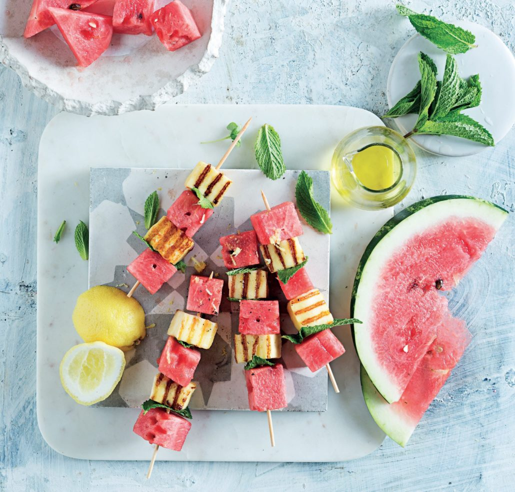 Watermelon and grilled halloumi skewers