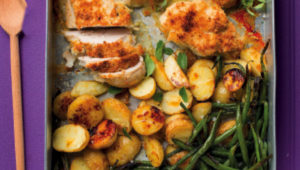 Coconut crusted chicken with baby potatoes and green beans