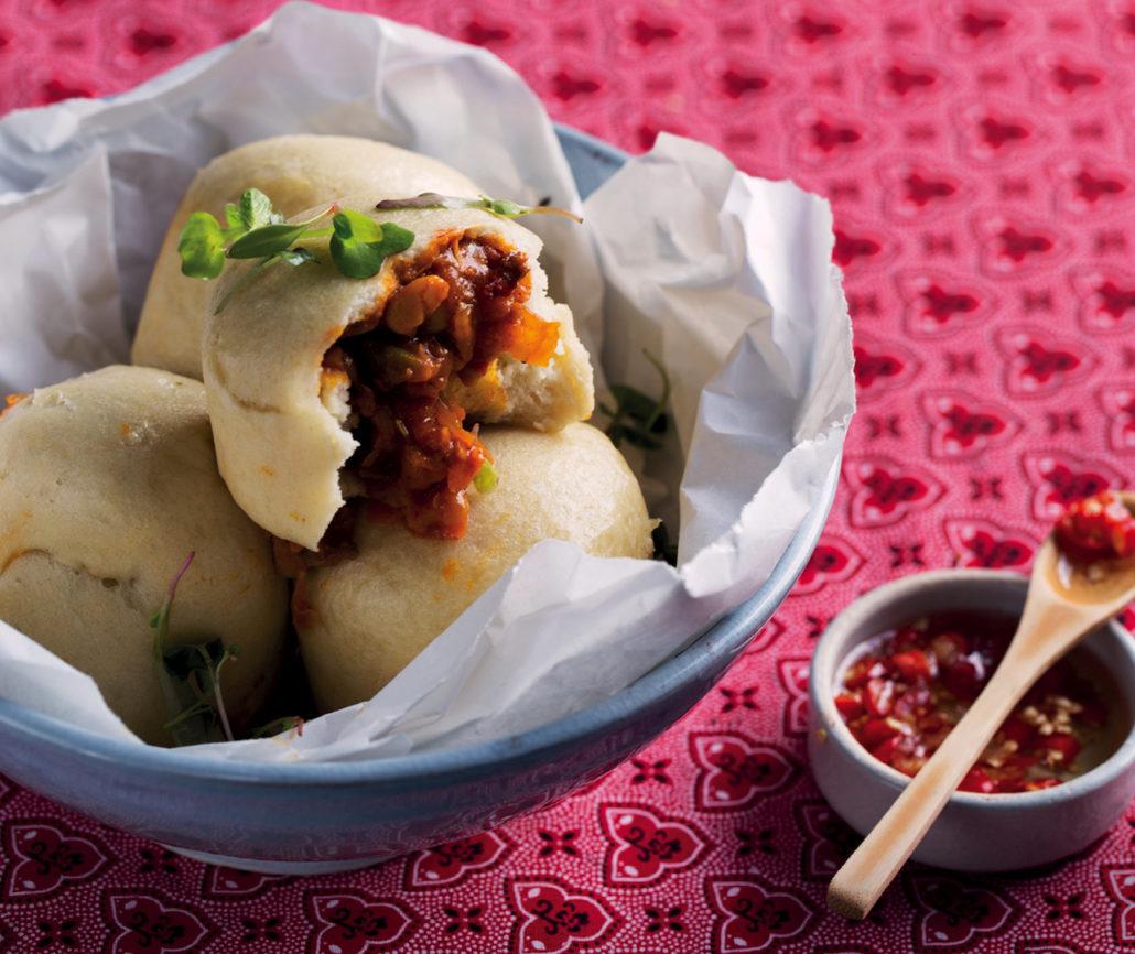 Mini steamed breads stuffed with bean chakalaka